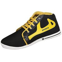 Earton Men'S Black &Amp; Yellow Eva Sneakers
