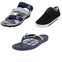 Earton Combo Pack Of 3 Pair Of Shoes Black (Casual Shoe