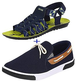 Earton Combo Pack Of 2 Pair Of Shoes Black &Amp; Blue (