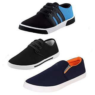 Earton Men Multicolor Lace-up Canvas Combo Pack Of 3 Casual Shoe (Sneakers)