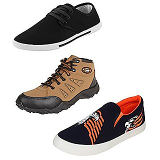 0aa24c7d68f6ea Buy Earton Men Canvas Combo Pack Of 3 Casual Shoes (Sneakers) Online    ₹1494 from ShopClues