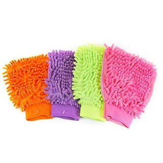 Multi Purpose Micro Fiber Washing Gloves (4 pcs)