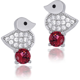 Shiyara Jewells Sterling Silver Pink Wacky Ducky Earrings With CZ Stones For Women(ER00750P)