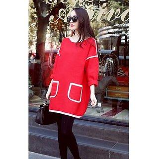 Klick2Style Womens Fashion Fall Winter Fleece Red Dress