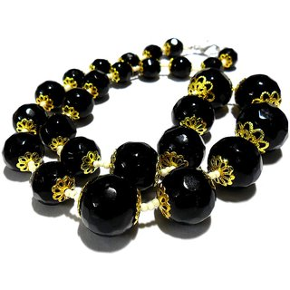 Beadworks Crystal Beaded Necklace for All Occasion in Black ONYX Colour
