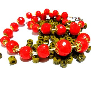 Beadworks Crystal Beaded Necklace for All Occasion in Coral Colour