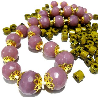 Beadworks Crystal Beaded Necklace for All Occasion in Purple Colour