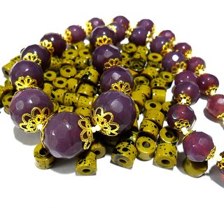 Beadworks Crystal Beaded Necklace for All Occasion in Dark Purple Colour