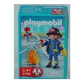 Playmobil Fire # Chief 5796 With Hydrant , Barrel With Flames 18 Pc