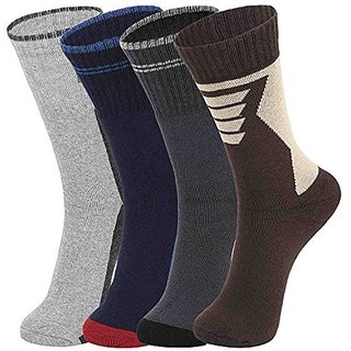DUKK Men'S Multicoloured Crew Length Cotton Lycra Socks (Pack Of 4)