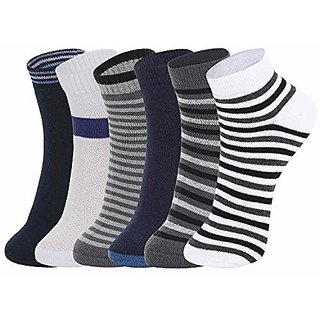 DUKK Men'S Multicoloured Quarter Length Cotton Lycra Socks (Pack Of 6)