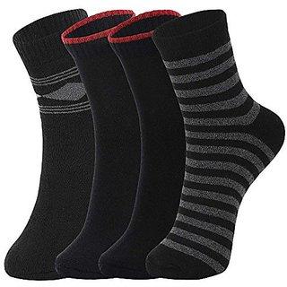 DUKK Men'S Multicoloured Crew Length Cotton Lycra Socks (Pack Of 4)