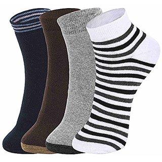 DUKK Men'S Multicoloured Quarter Length Cotton Lycra Socks (Pack Of 4)