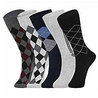 DUKK Men'S Multicoloured Crew Length Cotton Lycra Socks (Pack Of 5)