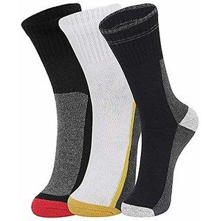 DUKK Men'S Multicoloured Crew Length Cotton Lycra Socks (Pack Of 3)