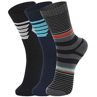 DUKK Men'S Multicoloured Crew Length Cotton Lycra Socks (Pack Of 3)