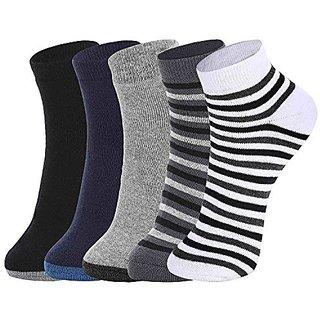 DUKK Men'S Multicoloured Quarter Length Cotton Lycra Socks (Pack Of 5)