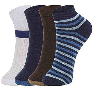 DUKK Men'S Multicoloured Quarter Length Cotton Lycra Socks (Pack Of 4)