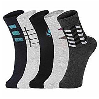 DUKK Men'S Multicoloured Ankle Length Cotton Lycra Socks (Pack Of 5)