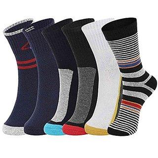 DUKK Men'S Multicoloured Crew Length Cotton Lycra Socks (Pack Of 6)