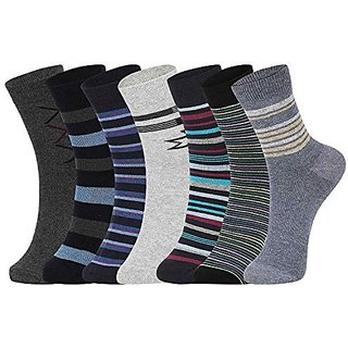 DUKK Men'S Multicoloured Ankle Length Cotton Lycra Socks (Pack Of 7)
