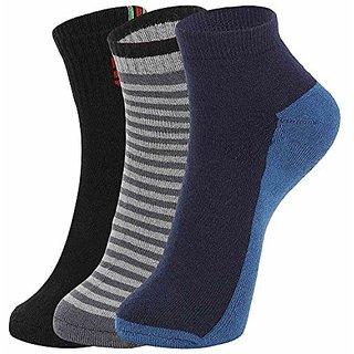 DUKK Men'S Multicoloured Quarter Length Cotton Lycra Socks (Pack Of 3)