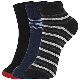DUKK Men'S Multicoloured Quarter Length Cotton Lycra Socks (Pack Of 3)