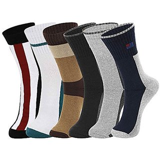 DUKK Men'S Multicoloured Crew Length Cotton Lycra Socks (Pack Of 6)