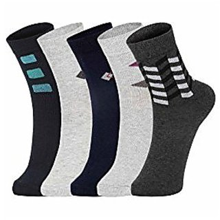DUKK Men'S Multicoloured Ankle Length Cotton Lycra Socks (Pack Of 5)