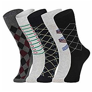 DUKK Men'S Multicoloured Crew Length Cotton Lycra Socks (Pack Of 5)