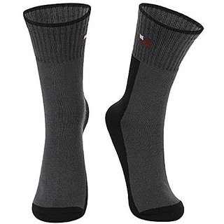 Dukk Black &Amp; Grey Color Block Crew Length Socks