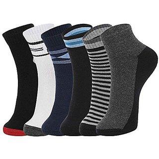 DUKK Men'S Multicoloured Quarter Length Cotton Lycra Socks (Pack Of 6)