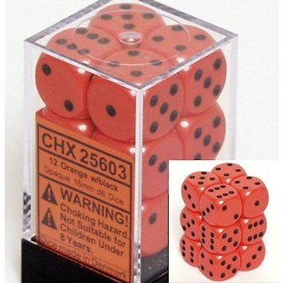 Chessex Dice D6 Sets: Opaque Orange With Black - 16mm Six Sided Die (12) Block Of Dice