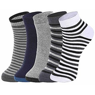 DUKK Men'S Multicoloured Quarter Length Cotton Lycra Socks (Pack Of 5)