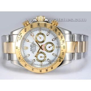 LUXURY Rolex Daytona Chronograph Automatic Two Tone With White Dial FREE GIFT