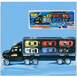 BIG RIG AUTO CARRIER - PLUS 6 DIE CAST CARS HOLDS UP TO 12!