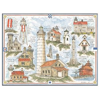 Heritage Puzzle - Bev Schreiber - Lighthouses Of Door County, Wisconsin - Jigsaw Puzzle - 550 Pc