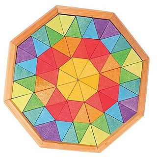 Grimms Small Wooden Creative Building Octagon - Mini Mandala Puzzle With 72 Triangle Blocks