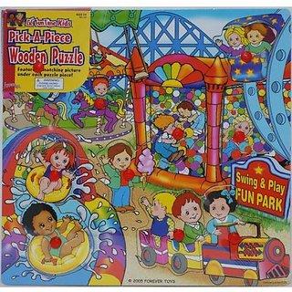 Lil Fun Time Kids Pick-A-Piece Wooden Puzzle - Fun Park