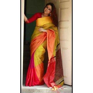 Praju Textiles Women Cotton Mahapar Sarees (Multicolour)