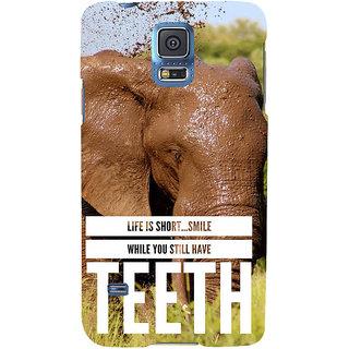 Ifasho Designer Back Case Cover For Samsung Galaxy S5 Mini :: Samsung Galaxy S5 Mini Duos :: Samsung Galaxy S5 Mini Duos G80 0H/Ds :: Samsung Galaxy S5 Mini G800F G800A G800Hq G800H G800M G800R4 G800Y (Elephant Life Is Too Small )