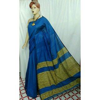Saree Casual Wear Aura Cotton Silk Saree/Sari With Unstitch Blouse