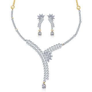 Sukkhi Gold and Rhodium plated Elegant CZ Necklace Set