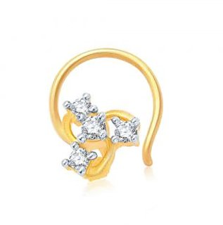 Sukkhi Gold Plated Gold & White Alloy Glimmery Gold and Rhodium Plated CZ Nose Pin for Women