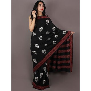 Cotton black multi print sarees with BP
