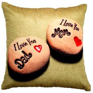 Valtellina I love u Mom  Dad Print Brown colour Cushion cover VLCU-001
