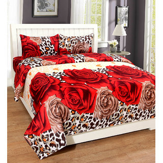 BSB Trendz 3D Printed Double Polycotton Bedsheet 100 Thread Count with 2 Pillow Covers