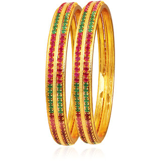 Spargz Gorgeous Gold Plated Multicolor Ruby Stone Indian Bangles Wedding Party Jewelry (2 Pieces) AIB048