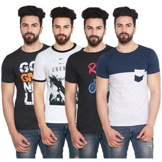 Stylogue Men's Multicolor Round Neck T-shirt (Pack of 4)