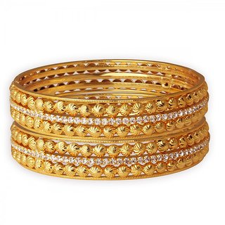 Spargz Ethnic Bollywood Gold Plated Indian Bangles American Diamond Wedding Party Jewelry (2 Pieces) AIB054